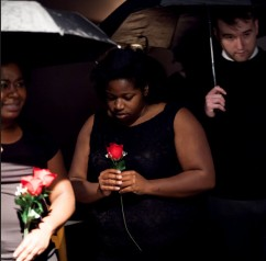 Felicia Barnes, Cynthia Harris, and Curtis Wills as Mourners